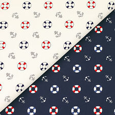 Cotton Fabric FQ Nautical Sea Marine Buoy Anchor Patchwork Crafts Material VK110