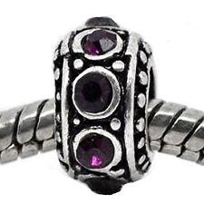 Purple Birthstone Spacer Bead Charm for european snake chain charm Bracelet