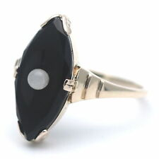 Antik Ring 333 Gold mit Onyx 8 Kt Gelbgold Perle Handarbeit Museal