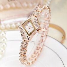Women`s Rose Gold Fancy Stunning Rhinestone Quartz Dress Wheat Bracelet Watches