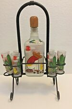 Amatitan Jalisco Mexican Hand Painted Decanter & 6 Shot Glasses with Metal Stand