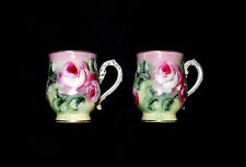"SET OF 2 PORCELAIN TEACUPS W/ CABBAGE ROSES & HANDPAINTED GOLD *EUC* 4"" x 3 1/2"""