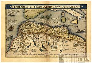Barbary Morocco Algiers Rabat Casablanca Maghreb map Abraham Ortelius ca.1570