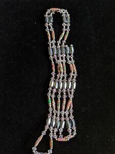 Artisan Pink Lampwork Inlay Hematite Wrap Bracelet