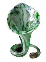 Vintage Green White Swirl Pulpit Lily Art Glass Twist Vase Flower Holder MCM