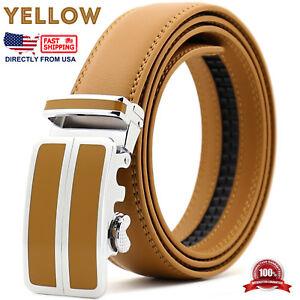 Mens Leather Automatic Buckle Ratchet Business Golf Dress Belt