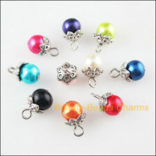 10 New Charms Round Glass Beads & Flower End Caps Mixed Pendants 8x14mm