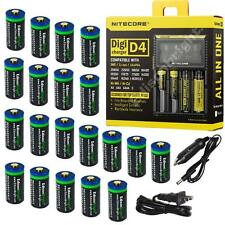 20 Pack Li-ion RCR123A/16340 rechargeable batteries w/charger for arlo cameras