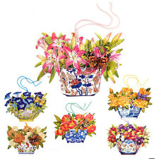 150 Die-cut Gift Tags with Flowers in Antique Vases and a 3D Butterfly ET0010
