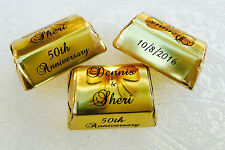 210 GOLD FOIL WEDDING ANNIVERSARY personalized WRAPPERS for your Hershey Nuggets