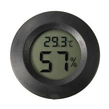 Digital Cigar Humidor LCD Hygrometer Thermometer Temperature Round Black Face