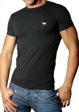 EA Emporio Armani T-SHIRT Uomo Maglietta Cotone Stretch Scollo Rotondo NERA