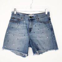 Big Star Farrah High Rise Boyfriend Jean Shorts Blue White Embroidered Stars 26