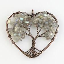 Chakra Copper Heart Pendant for Necklace Natural Labradorite Tree of Life Reiki