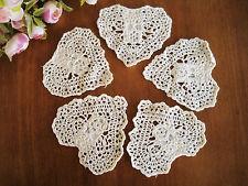 "FIVE Chic Hand Crochet Heart Shape Cotton Doily Ecru 4"""