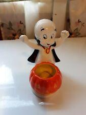Casper The Friendly Ghost Porcelain Candle Holder Figurine Pumpkin 2005 Harvey