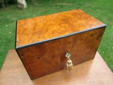 More details for superb victorian burr walnut tea caddy with cannisters + key ex+