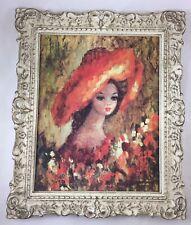 "Vintage Jean Maio Framed Print Big Eye Girl Symphony in Sienna - 12"" x 10"""