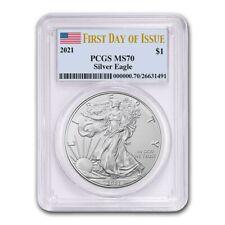 2021 American Silver Eagle PCGS MS70 FDOI In US Flag Holder USA PRE-SALE Coin