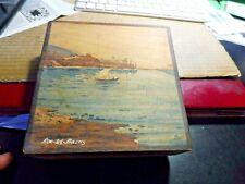 boite a cigare ou autre en bois peinte , paysage d'aix les bains par Boli