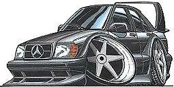 Cartoon car t-shirt Mercedes 190E cosworth EVO 2 ii dtm racing benz sizes S-3XL