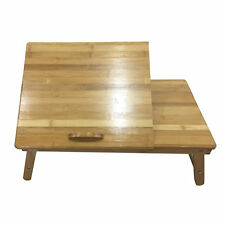 Portable Bamboo Laptop Desk Table Folding Breakfast Bed Serving Tray + Drawer