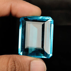 Sparkling Emerald Cut Swiss Blue Topaz 62.50 Ct. Faceted Loose Gemstone PD-12