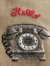 New ListingVintage Dritz Luxury 2825 Needlepoint Canvas Hello Telephone Phone Bench Cushion