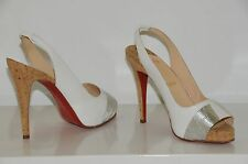 New Christian Louboutin Moyen Prive White Silver Cork Sling Platform Heels Shoes