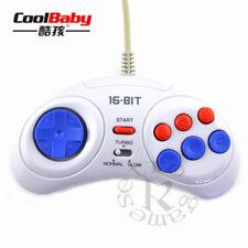 Sega Mega Drive Genesis 6 Pulsante Joystick Turbo Fire Control Pad Nuovo Bianco