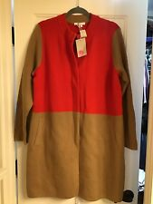 NWT Womens Boden Tan/Red Sweater Coat SZ 18