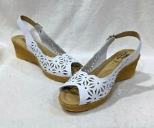 Spring Step Women's Olivia White Leather Peep Toe Wedge Sandals-Size 8/9/10 NWB