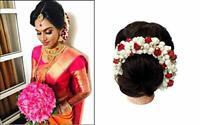 Juda Decoration Accessories For Women  Wedding use Hair Gajra (Red-White)