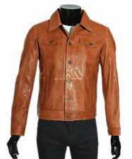 Mens Real Leather Trucker Jacket Tan Classic Western Classic 67 Shirt Jackets