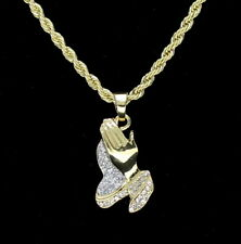 "14k Gold Plated Praying Hands Pendant Iced Out Cz 20"" Rope Chain HipHop Necklace"