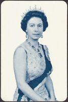 Playing Cards Single Card Old Vintage QUEEN ELIZABETH II 2 Royal Art Portrait A