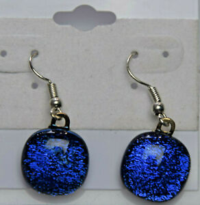Made In USA Fused Dichroic Glass Earrings E10