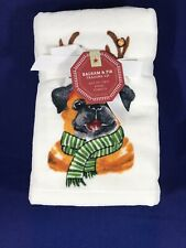 NWT Set Of 2 Pug Dog Holiday Hand Towels By Balsam & Fir