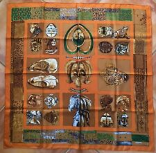 RARE Authentic Hermes Scarf PERSONA by Loic Dubigeon 1987 Vintage 90cm Silk