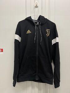adidas Juventus 2018 -  2019 Soccer Full Zip Hooded Top Hoodie Black White Gold