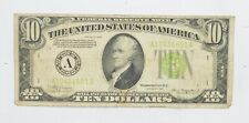 1934 $10.00 Green Seal Federal Reserve Note United States Note *687