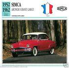 SIMCA ARONDE GRAND LARGE 1952 1962 CAR VOITURE FRANCE CARTE CARD FICHE