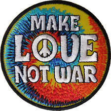MAKE LOVE NOT WAR Iron On Patch Sew On Cloth Embroidered Badge Peace Sign Symbol