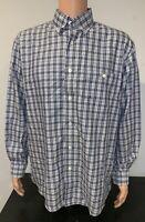 Orvis Mens Large Plaid Check Long Sleeve Button Down Pocket Blue Shirt Collar