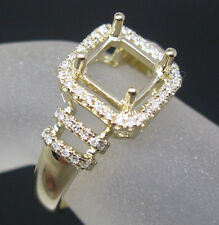 Princess 7.0mm Solid 14K Yellow Gold Natural Diamond Semi Mount Engagement Ring