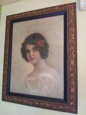 Cuadro Romantico siglo XlX Litografia Retrato de Mujer Marco madera Belle Epoque