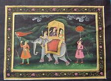Udaipur Water Color Painting Of Maharaja & Queen Elephant Folk Procession Art