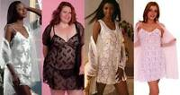 Lingerie Set Chemise Sheer Lace Slip & Gown Coat 2 Piece Waltz Pegnoir Plus Size