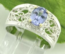 18k Solid White Gold Natural Diamond & AAA Oval Tanzanite Ring 0.92 ct filigree