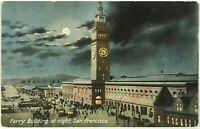 Postcard Ferry Building Night San Francisco California CA Trolley Birds Eye View